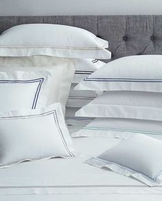 SFERRA's Grande Hotel bed linen collection is designed after the sheets that grace the beds of some of the finest hotels in the world. Crisp white sheeting is framed in tailored double rows of colored satin stitching. Made in Italy by SFERRA. Ikea, Percale Sheets, Bed Sheets, Pillow Top Mattress, Bed Pillows, Linen Pillows, Cotton Pillow, Linen Bedding, Bedding Sets