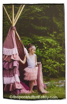 Kids Ruffle Teepee by TeepeeandTent on Etsy, $325.00....IN LOVE!!! Too bad I'll never buy it...
