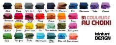 Découvrez nos 31 couleurs de teintures textiles, disponible à la vente sur notre site.