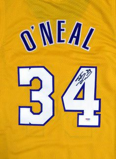 0a82afe7a9a Los Angeles Lakers Shaquille Shaq O'Neal Autographed Yellow Jersey PSA/DNA