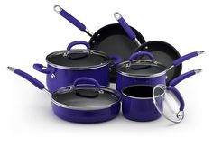 Rachael Ray Porcelain Enamel Nonstick 10-Piece Cookware Set, Blue -- Be sure to check out this awesome product.