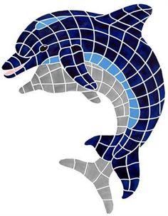 "Ceramic Shadow Dolphin Up Mosaic 35""x30"""