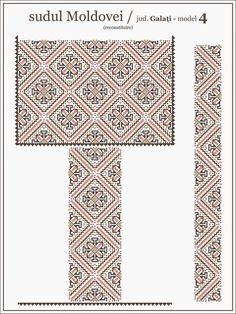 Semne Cusute: ie din MOLDOVA, Galati Folk Embroidery, Embroidery Patterns, Cross Stitch Patterns, Moldova, Creative Inspiration, Cross Stitching, Beading Patterns, Pixel Art, Tapestry