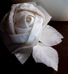 Velvet Millinery Rose in Cream Velvet and Satin for Bridal Fascinators, Corsages, or Sashes, Costumes MF 126