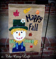 Happy Fall Scarecrow Autumn Burlap Garden Flag by thecozyloft