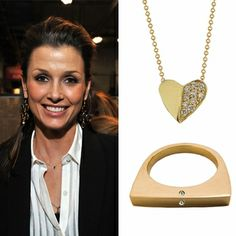 Bridget Moynahan swung by Lucky Shops NY and chatted with Ariel for a bit. She also picked up a few pieces of AGJ, including a Close to My Heart necklace and a Flat Top Ring.