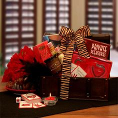 Romantic Evening for Two Gift Chest - Valentine's Day is only about two people … you and your Valentine. This year, the Private Pleasures Gift Chest is ready bring you even. Honeymoon Gift Baskets, Valentine's Day Gift Baskets, Honeymoon Gifts, Gourmet Gift Baskets, Valentines Day Baskets, Valentine Day Gifts, Holiday Gifts, Valentine Ideas, Romantic Evening