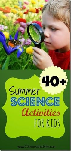 40 Summer Science Activities for Kids - Over 40 Summer Science Experiments - these are such fun kids activities perfect for summer learning, science fun, summer bucket lists, and summer homeschoolers, and science projects Science Activities For Kids, Preschool Science, Science Experiments Kids, Teaching Science, Educational Activities, Preschool Activities, Science Fun, Science Projects, Preschool Kindergarten