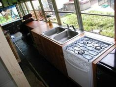School Bus Conversion - Kitchen_ here is my stove again!