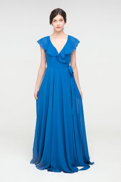 Ruffled Wrap Long V-neck Chiffon Bridesmaid Dress with Slit#wedding #weddinginspiration #bridesmaids #bridesmaiddresses #bridalparty #maidofhonor #weddingideas #weddingcolors #tulleandchantilly Bridesmaid Dress Colors, Bridesmaids, Slit Dress, Maid Of Honor, Dress For You, Weddingideas, Wedding Blog, Wedding Colors, Tulle