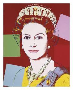 Art Print: Reigning Queens: Queen Elizabeth II of the United Kingdom, 1985 (dark outline) by Andy Warhol : 27x22in