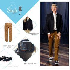 Ellen's Look of the Day: Blazer, pants, navy ProKeds