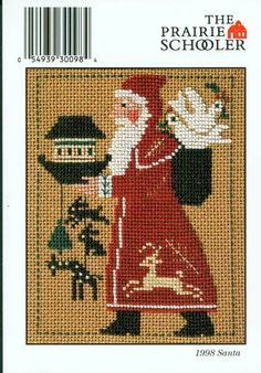 The Prairie Schooler 1998 Santa Card Cross Stitch Leaflet