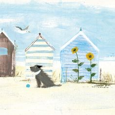 Sunflowers Beach Greetings Card by Hannah Cole… Beach Illustration, Colorful Pictures, Seaside Pictures, Dog Paintings, Beach Art, Acrylic Art, Dog Art, Pet Portraits, Bunt