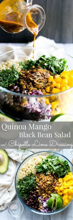 Hearty, make ahead and healthy! Quinoa Mango Black Bean Salad - an on the go, satisfying salad to fuel your busy days. #Vegan #Vegetarian #Quinoa #Recipe