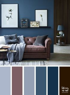 Brown and blue living room color ideas | Color Inspiration #colorideas #colorsinpriation #colorpalette