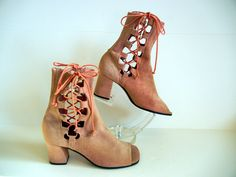 1960s boots / Dusty Rose Vintage 60's Mod Open Toe Lace Up Boots. $125.00, via Etsy.