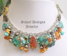 Turquoise & Spiny Oyster Shell Vintage & Native American Charm Bracelet ~ Schaef Designs Jewelry