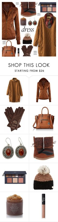 """""""Winter Dresses Under $100"""" by sinesnsingularities ❤ liked on Polyvore featuring WithChic, Gizelle Renee, London Fog, NOVICA, TOMS, Mischa Lampert, Fresh, NARS Cosmetics, Smartwool and contest"""