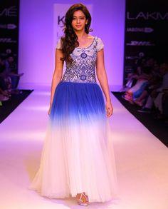 Prussian Blue & White Long Dress- Buy Dresses,KHEM By Khushboo & Prem - Lakme '14,KHEM By Khushboo & Prem - Lakme '14 Online   Exclusively.in
