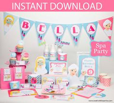 Create a fun and chic Spa Party with my editable Printable Collection. INCLUDES Invitations. Print it yourself party INSTANT DOWNLOAD