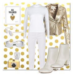"""""""GOLD & WHITE"""" by ayeletam ❤ liked on Polyvore featuring Vellum, Sans Souci, Piazza Sempione, River Island, New Look and Yves Saint Laurent"""