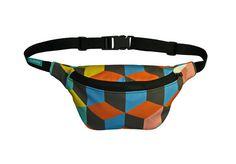 Colorful hip bag, bike bag, cubes, 3d cubes, waterproof  by lukola