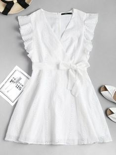 Ruffle Broderie Anglaise Partykleid – WHITE S # whitedress # Sommerkleid # Causaldres … - Mode Frauen Club Mode Outfits, Dress Outfits, Girl Outfits, Dress Clothes, Casual Clothes, Sexy Dresses, Nice Dresses, Girls Dresses, Short Dresses