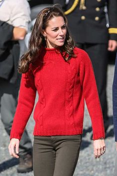 Kate Middleton looked like she had really found her sea legs with a huge smile on her face as she boarded the Highland Ranger fishing vessel in a bright red Really Wild sweater © Atlantic Images