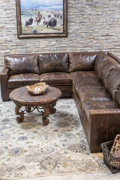 Chocolate Track Arm Sectional Gorgeous chocolate brown color distressed sectional with comfort and great style. top grain leather, excellent craftsmanship, and made in the U. Rustic Furniture, Cool Furniture, Furniture Design, Furniture Ideas, Acrylic Furniture, Sectional Sofa With Recliner, Leather Sectional, Tuscan Style Homes, Southwest Decor