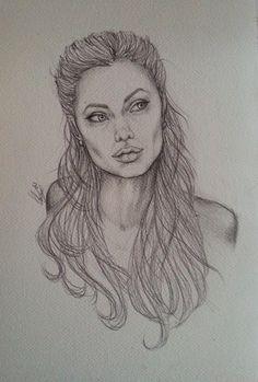 Angelina Jolie, ritratto a matita