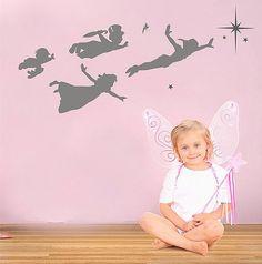 Peter Pan Children flying wall frieze vinyl wall by circlewallart, £19.99