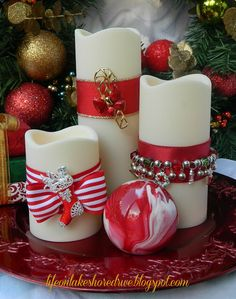 DIY Christmas Jewelry for candles....Use ribbons, bracelets and pins to update your candles for the holidays.