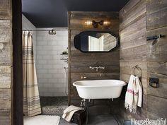 Old Barn Wood Home Decor | Rustic Country Bathroom Decor - Barn Wood Bathroom - House Beautiful