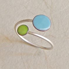 Orbit Enamel Ring - Sky Blue and Lime Green - by marstinia