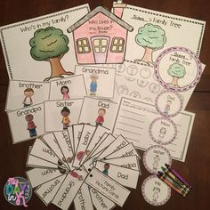 Family activities including family tree mobile, family tree sort, who lives in my house, family list writing
