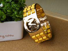 Michael Kors Inspired MK Logo Bangle Golden