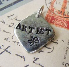 Pewter Hand Stamped Pendant  ARTIST Silver Black by meiguidesigns