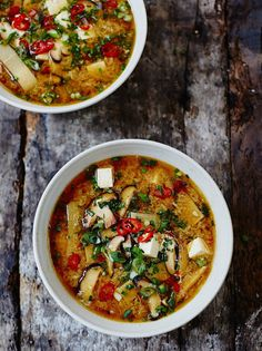 Hot & sour soup - With egg ribbons, tofu and shitake mushrooms, this is a deliciously warming veggie soup