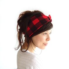 Tie Up Headscarf Red and Black Check by ChiChiDee on Etsy, £12.00