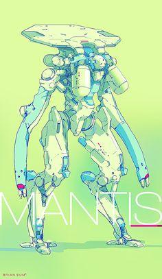 Armored Mech by Brian Sum on ArtStation. Arte Ninja, Arte Robot, Arte Cyberpunk, Cyberpunk 2077, Comics Illustration, Illustrations, Character Concept, Character Art, New Retro Wave