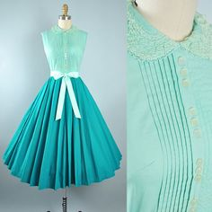 Vintage 50s Dress / 1950s Cotton Belted Sundress Two TONE Pine