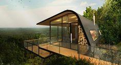 ABA conceptualizes eco-cabins nestled on mount cotton hillside