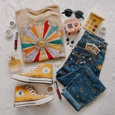 Hippie Outfits, Teen Fashion Outfits, Retro Outfits, Mode Outfits, Cute Casual Outfits, Vintage Outfits, Girl Outfits, Womens Fashion, Aesthetic Fashion