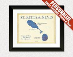 Personalized Wedding Gift  Anniversary Gift  Map of St. Kitts and Nevis  #StKittsAndNevis #WeddingGift #MapPrint