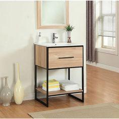 Legion Furniture 24-inch Maple Finish Single Sink Vanity with Black Metal Frame - 17683027 - Overstock.com Shopping - Great Deals on Legion Furniture Bathroom Vanities