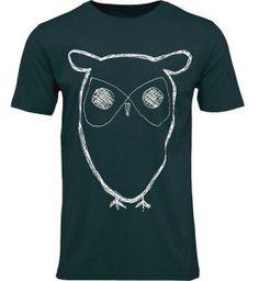 T-Shirt mit Eulenaufdruck - grün