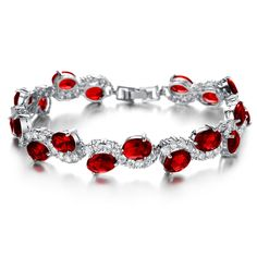 """Girl Era Elegant Sexy Red Cubic Zirconia Crystal Waves Tennis Bracelet Charm Bracelets for Womens. High quality, Inner circumference: 7.48"""", Weight:25g. Come with a gift box. Girl Era Jewelry store for more latest jewelry sets in various styles. A perfect item to wear for any occasions. Great for a gift to your family,lover and friends. This item are made nickle free and tarnish free, comfort fit. Girl Era is an registered trademark and also have recorded in the Amazon. Girl Era provides…"""