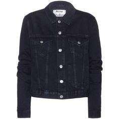 Acne Studios Tag Cropped Denim Jacket (€270) ❤ liked on Polyvore featuring outerwear, jackets, denim jacket, coats, blue, acne studios, cropped jacket, blue jackets and blue cropped jacket