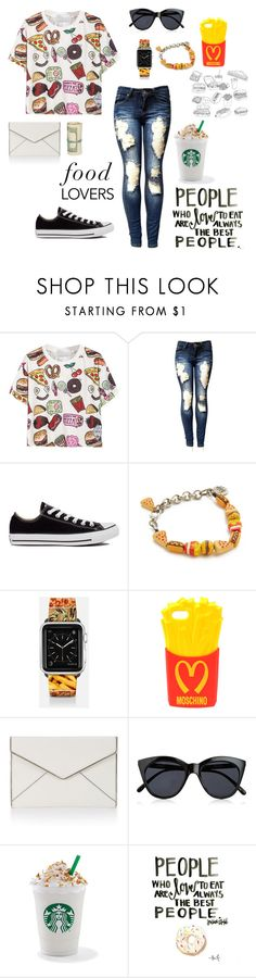 """""""Who doesn't love food?"""" by ahriraine ❤ liked on Polyvore featuring Converse, Venessa Arizaga, Casetify, Moschino, Rebecca Minkoff and Le Specs"""